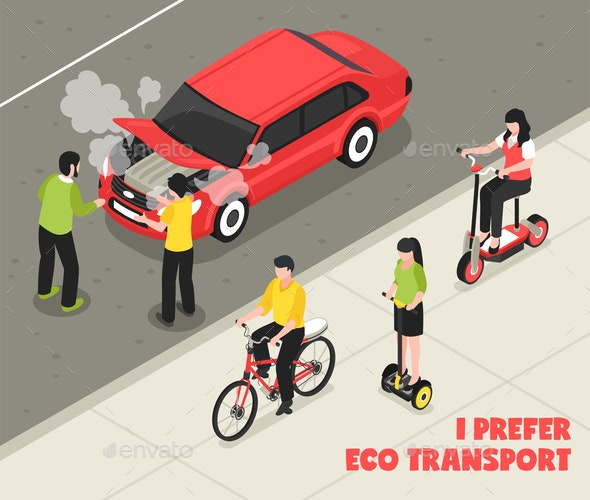 Eco Transport Isometric Poster - Miscellaneous Vectors