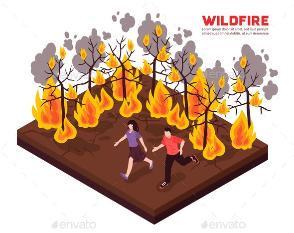 Wildfire Isometric  Illustration - Landscapes Nature