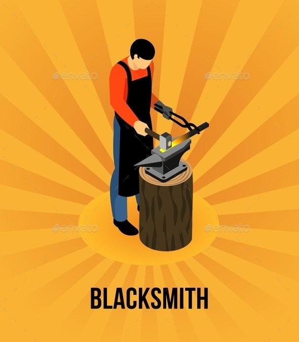 Blacksmith Isometric Concept - People Characters