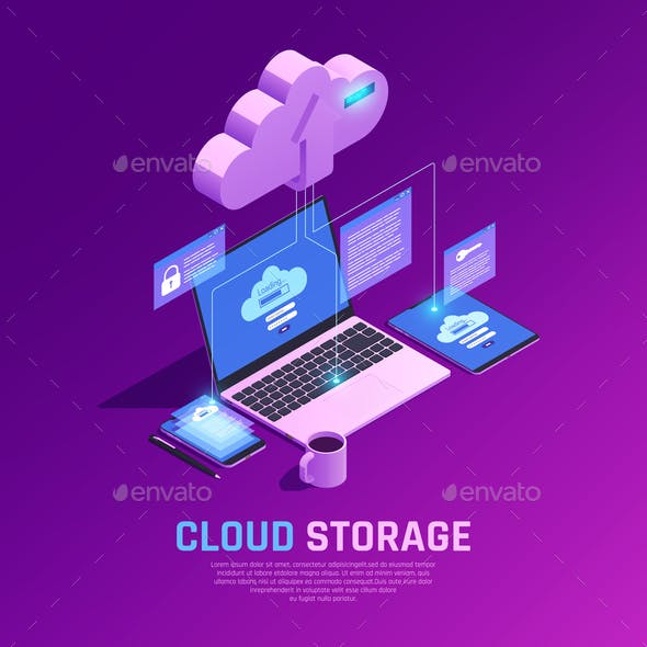 Cloud Workspace Isometric Background