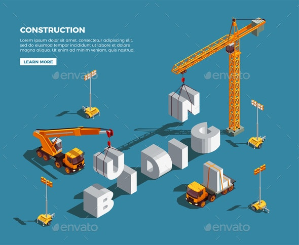 Construction Vehicles Isometric Composition - Industries Business