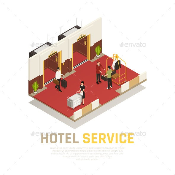 Hotel Service Isometric Composition - Industries Business