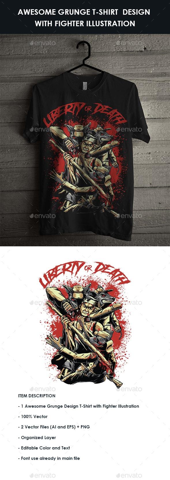 Grunge Design T-Shirt with Bloody Fight Illustration - Grunge Designs