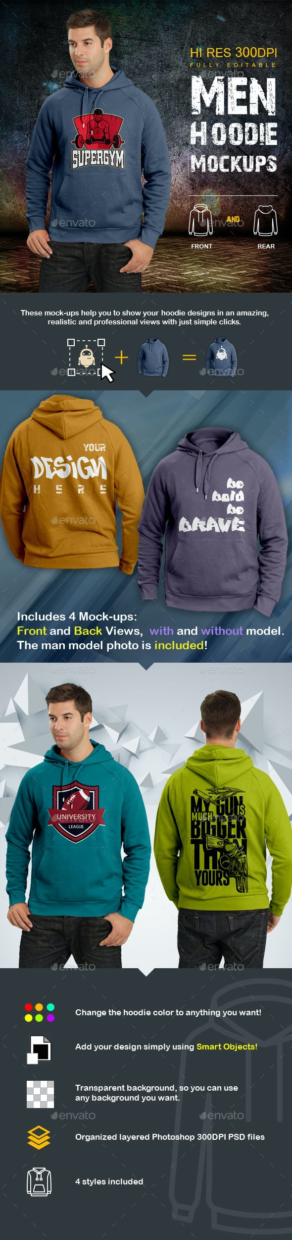 Men Hoodie Mockups - T-shirts Apparel