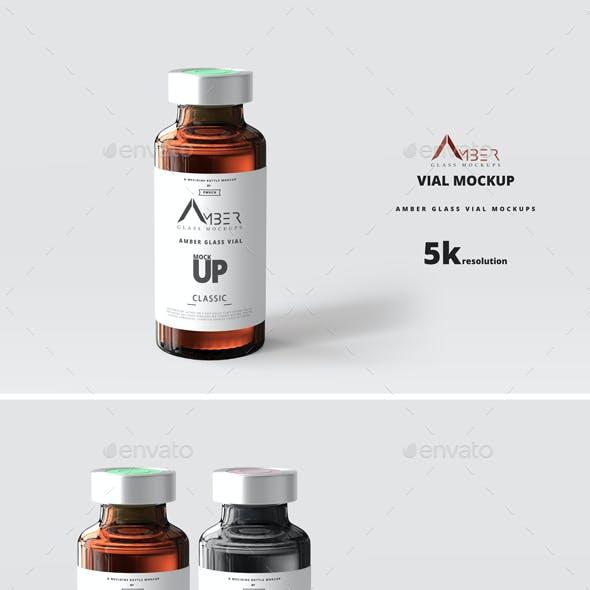 Amber Glass Vial Mockup