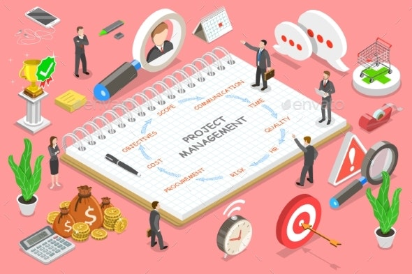 Project Management Isometric Flat Vector - Concepts Business