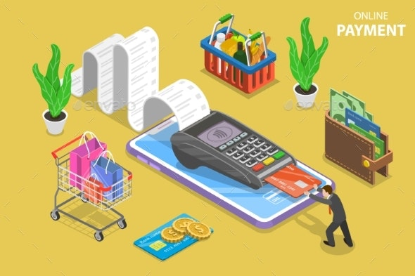 Mobile Payment Flat Isometric Vector Conceptual - Computers Technology