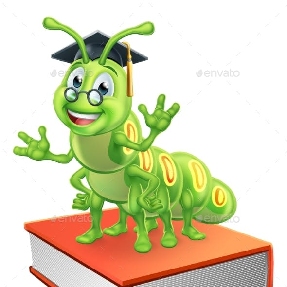 Graduate Caterpillar Bookworm Worm on Book