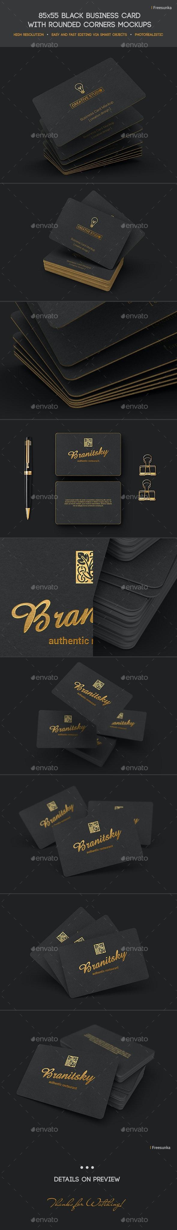 85x55 Black Business Card Mockups - Business Cards Print
