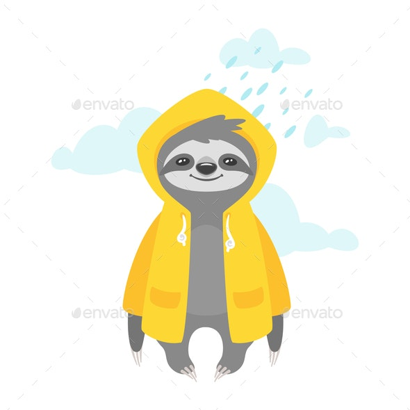 Sloth in Raincoat - Animals Characters