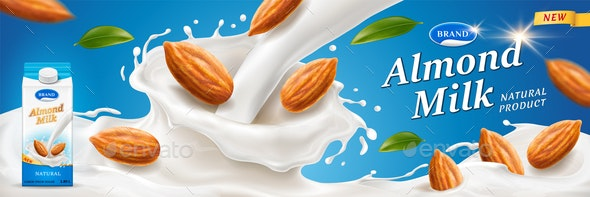 Almond Milk Splash - Food Objects