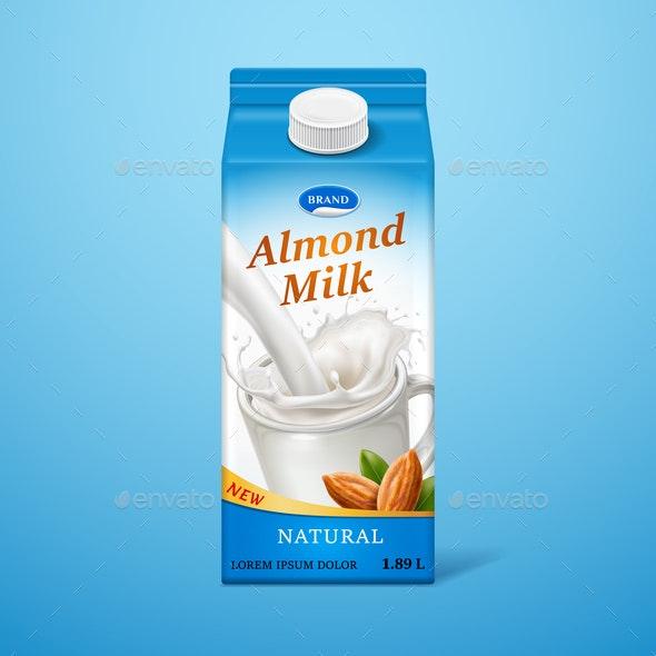 Almond Milk in Paper Package - Food Objects