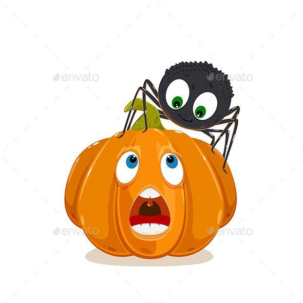 Spider and Pumpkin for Halloween - Halloween Seasons/Holidays