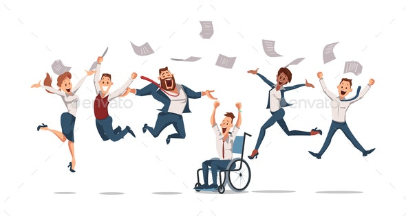 Happy Office Workers Jumping - People Characters