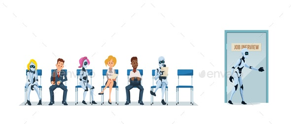 Job Interview Recruiting and Robots - Business Conceptual