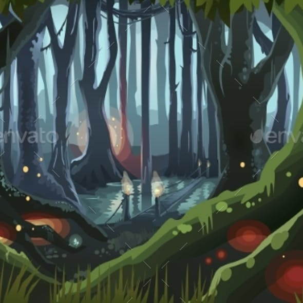 Fantasy Forest Illustration Dark Night Magic Trees
