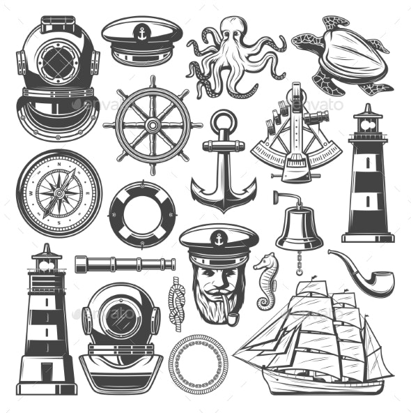 Nautical Symbols and Marine Sailing Vector Icons - Man-made Objects Objects