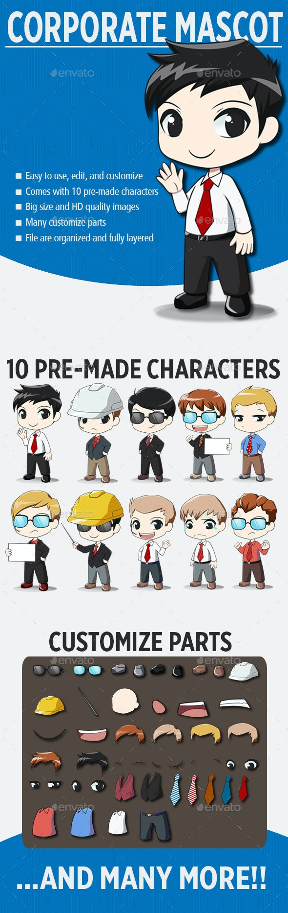 Male Corporate Mascot - Characters Illustrations