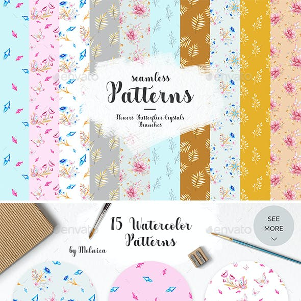 Seamless Patterns Collection. Crystals, Butterflies, Flowers, Leaves