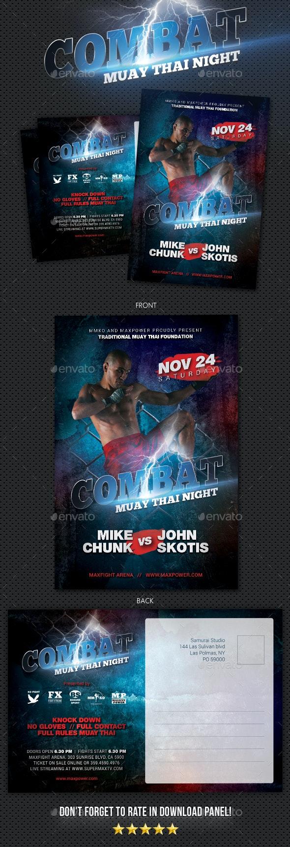 Combat Muay Thai Postcard - Cards & Invites Print Templates