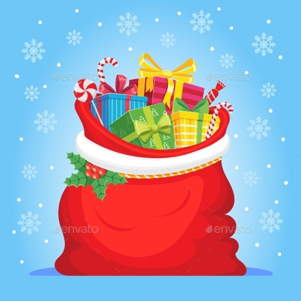 Santa Claus Gifts in Bag - Christmas Seasons/Holidays