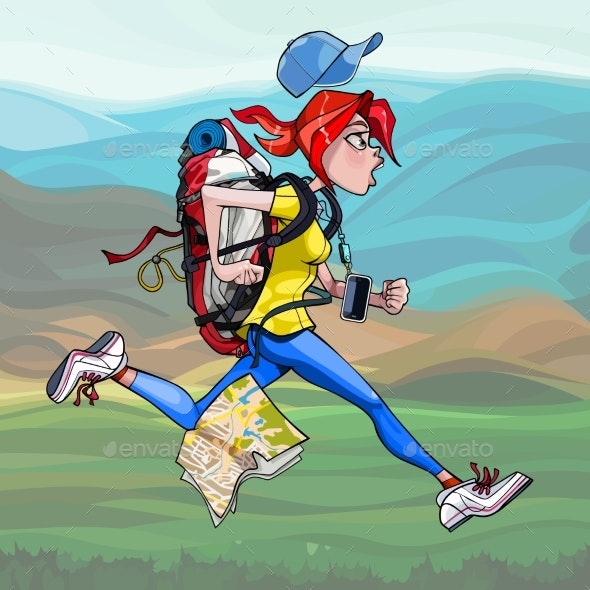 Cartoon Woman Tourist with Backpack Runs Fast - People Characters