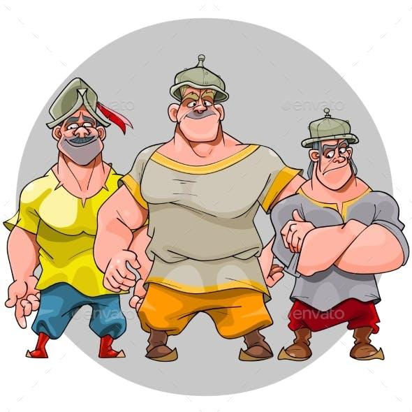 Three Cartoon Men in Knightly Helmets