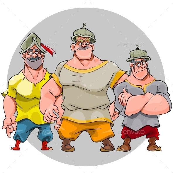 Three Cartoon Men in Knightly Helmets - People Characters