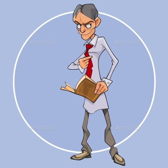 Cartoon Man with a Book in His Hand Looks - People Characters
