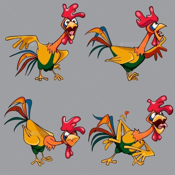 Cartoon Multicolored Cockerel - Animals Characters