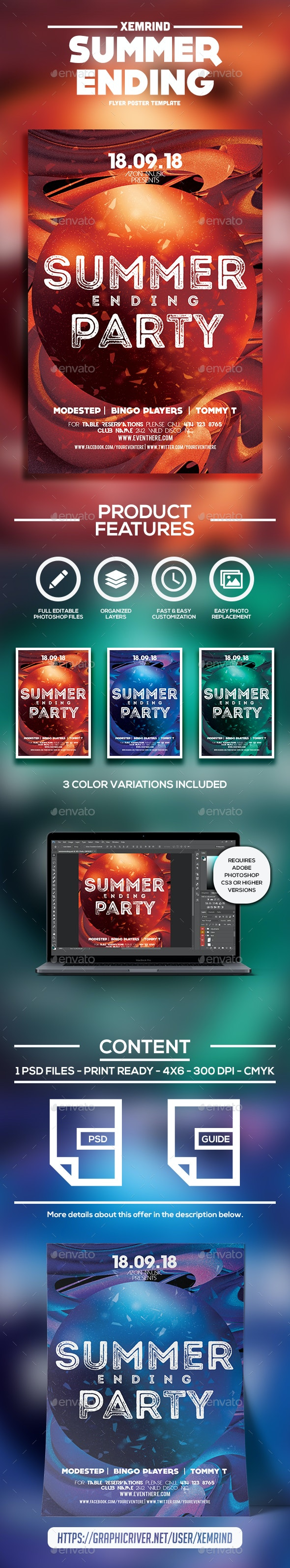 Summer Ending Flyer/Poster Template - Events Flyers