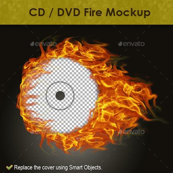 CD / DVD Fire Mockup - Discs Packaging