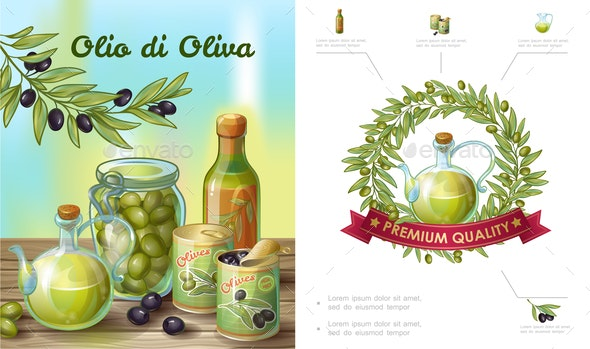 Cartoon Healthy Olive Composition - Food Objects