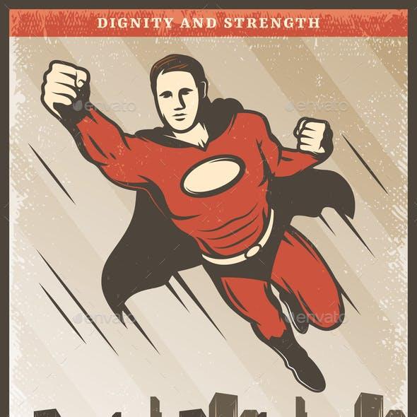 Vintage Colored Superhero Poster