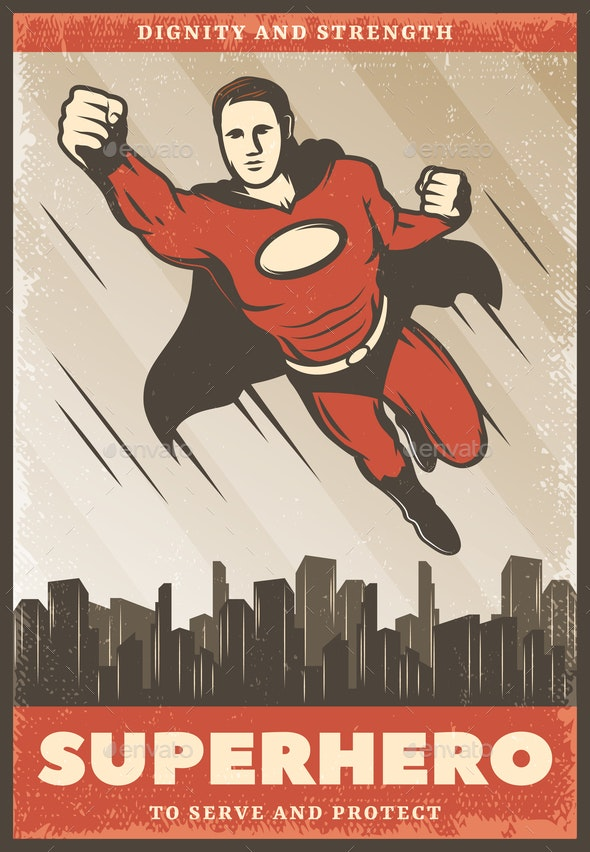 Vintage Colored Superhero Poster - Miscellaneous Vectors
