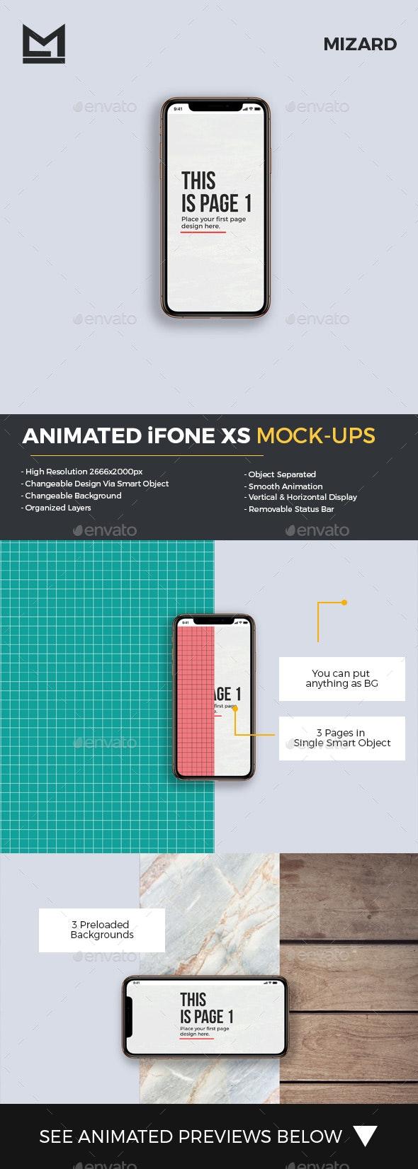 Animated iFone XS Mock-Ups - Mobile Displays