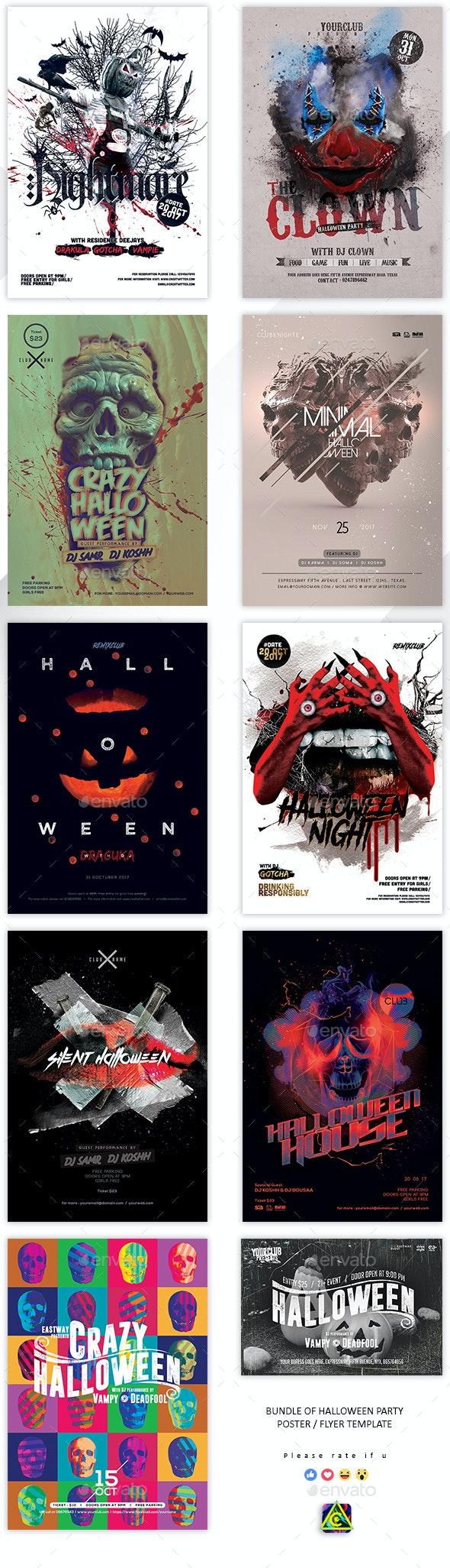 Bundle Of 10 PSDs Halloween Flyer / Poster - Holidays Events