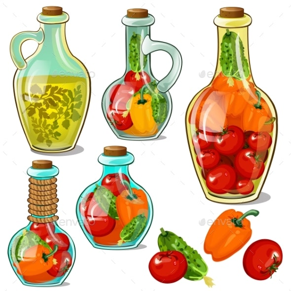 Set of Decorative Glass Bottles with Pickled Vegetables - Food Objects
