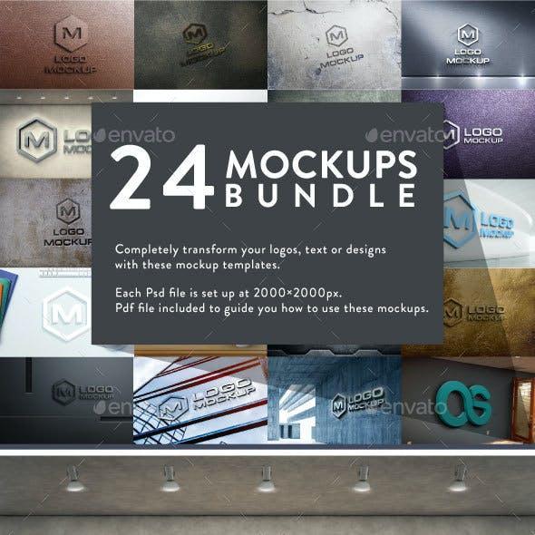 24 Logo Mock-Ups Bundle