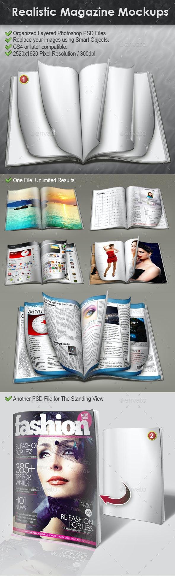 Realistic Magazine Mockups - Magazines Print