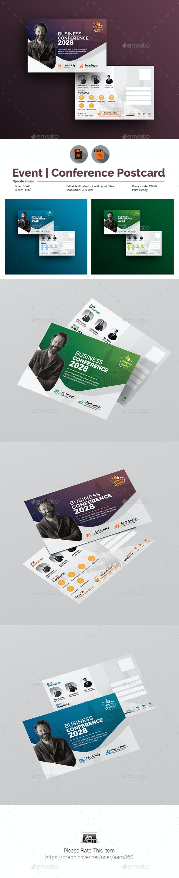 Conference/ Event Postcard Template - Cards & Invites Print Templates