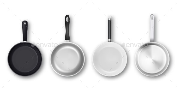 Vector Realistic Empty Non-Stick Pans - Man-made Objects Objects