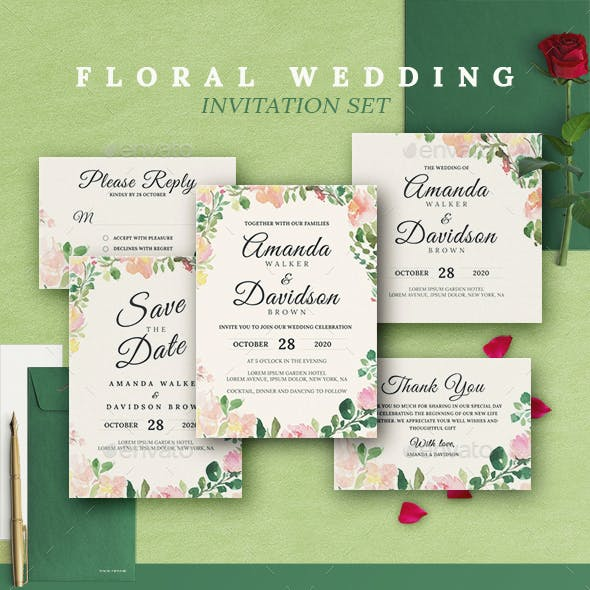 Rustic Floral Wedding Invitations Print Templates Set