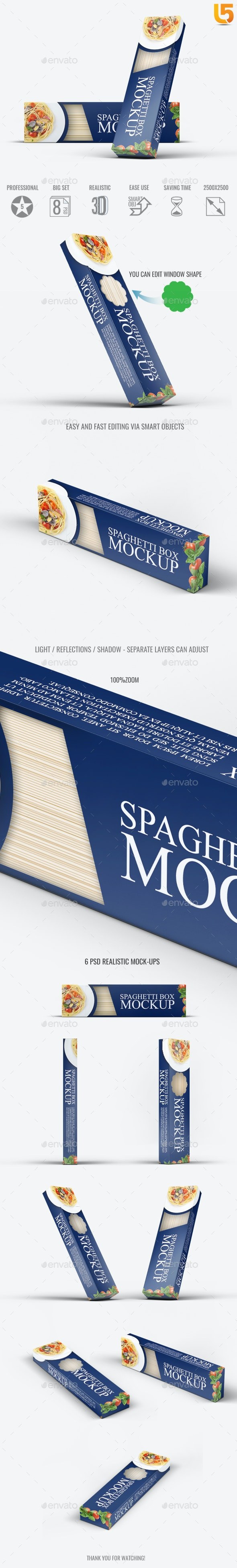 Spaghetti Box Mock-up - Food and Drink Packaging