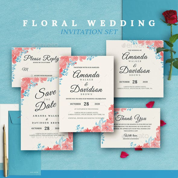 Floral Wedding Invitations Set