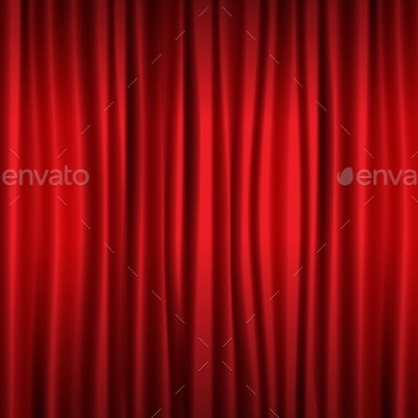 Close View of Realistic Red Curtain