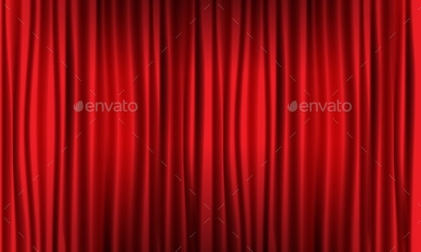 Close View of Realistic Red Curtain - Backgrounds Decorative