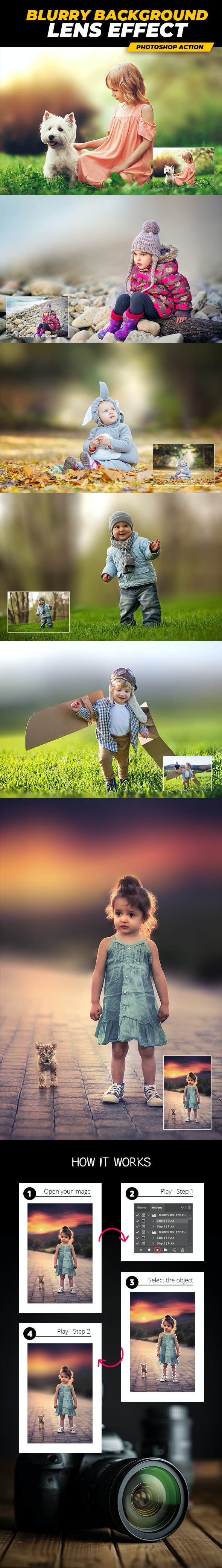 Blurry Background Lens Effect - Photoshop Action - Photo Effects Actions