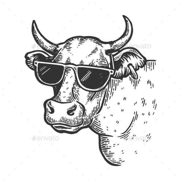 Cow in Sunglasses Engraving Vector - Animals Characters