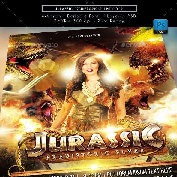 Jurassic Prehistoric Theme Event Flyer